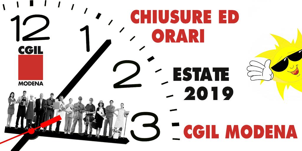 Chiusure ed orari Cgil Modena - Estate 2019