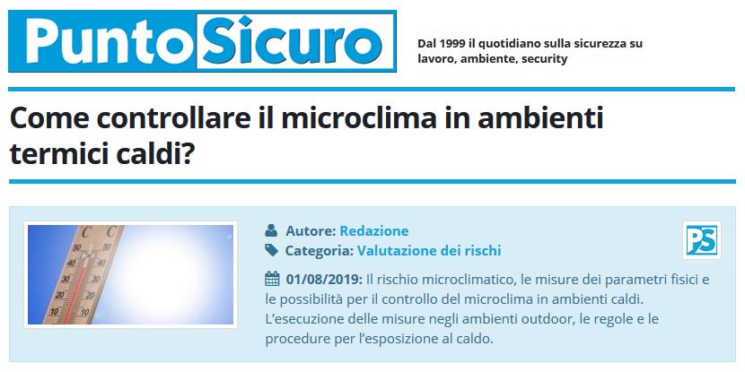 PuntoSicuro - Come controllare il microclima in ambienti termici caldi?