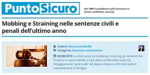 PuntoSicuro - Mobbing e Straining nelle sentenze civili e penali dell'ultimo anno