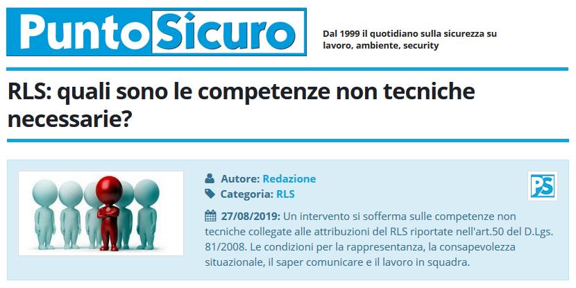 PuntoSicuro - RLS: quali sono le competenze non tecniche necessarie?