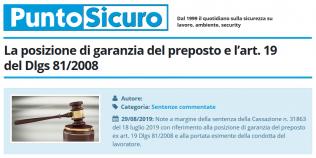 PuntoSicuro - La posizione di garanzia del preposto e l'articolo 19 del d.lgs 81/2008