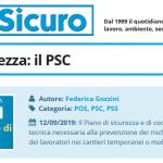 PuntoSicuro - Pillole di sicurezza: il PSC (Piano di Sicurezza e di Coordinamento)