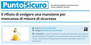 PuntoSicuro - Il rifiuto di svolgere una mansione per mancanza di misure di sicurezza