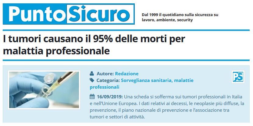 PuntoSicuro - I tumori causano il 95% delle morti per malattia professionale