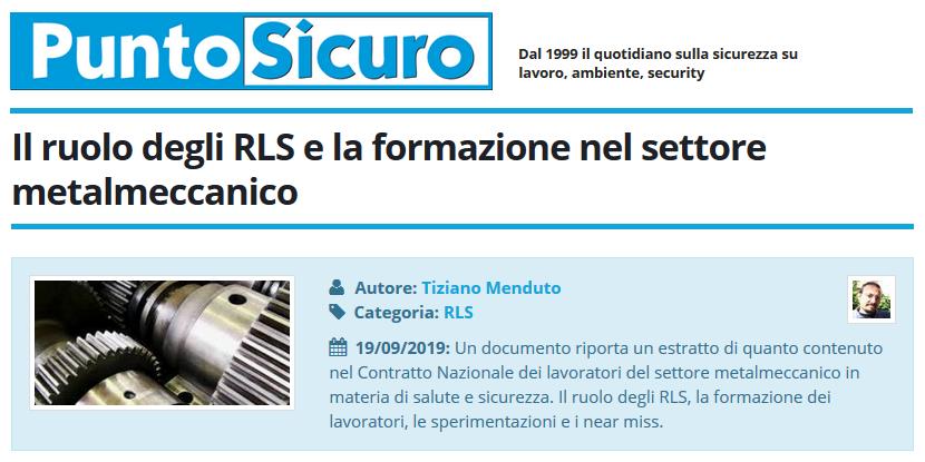 PuntoSicuro - Il ruolo degli RLS e la formazione nel settore metalmeccanico