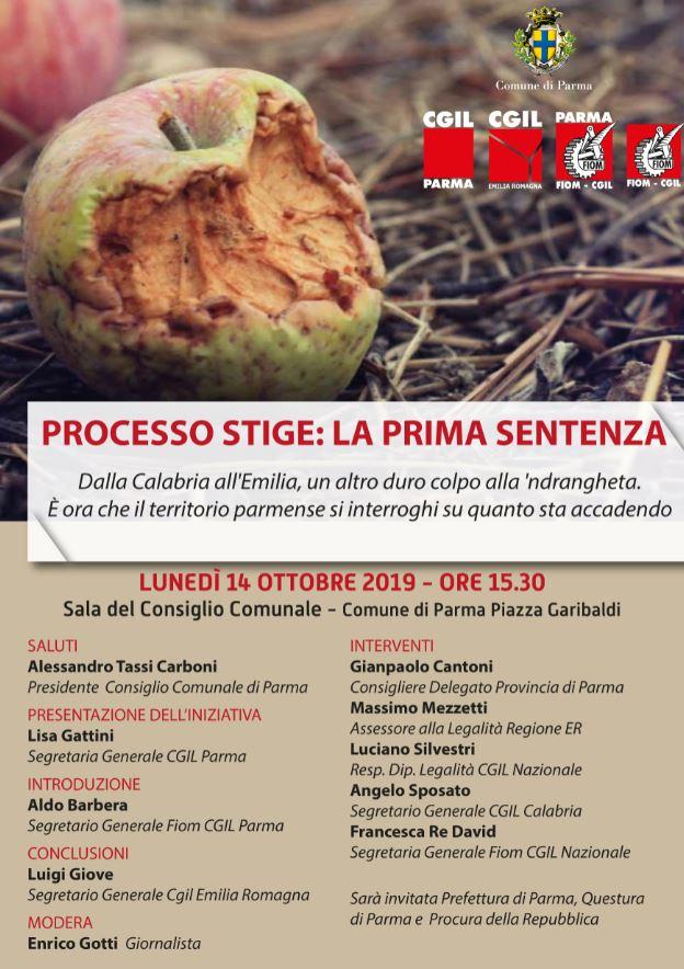processo Stige, incontro Parma 14.10
