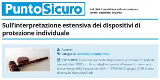 PuntoSicuro - Sull'interpretazione estensiva dei dispositivi di protezione individuale