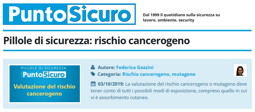PuntoSicuro - Pillole di sicurezza: rischio cancerogeno