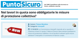 PuntoSicuro - Nei lavori in quota sono obbligatorie le misure di protezione collettiva?