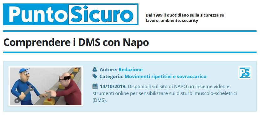 PuntoSicuro - Comprendere i DMS (disturbi muscolo-scheletrici) con Napo