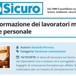 PuntoSicuro - L'obbligo di formazione dei lavoratori muniti di preparazione personale