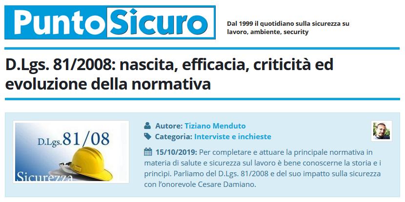 PuntoSicuro - D.Lgs. 81/2008: nascita, efficacia, criticità ed evoluzione della normativa