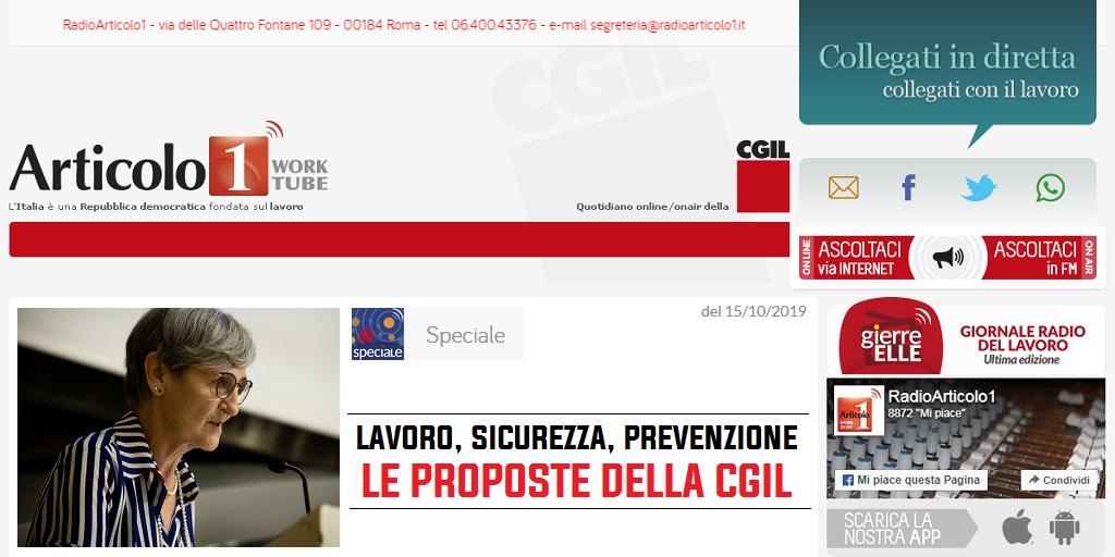 Radioarticolo1 - Lavoro, sicurezza, prevenzione: le proposte della Cgil
