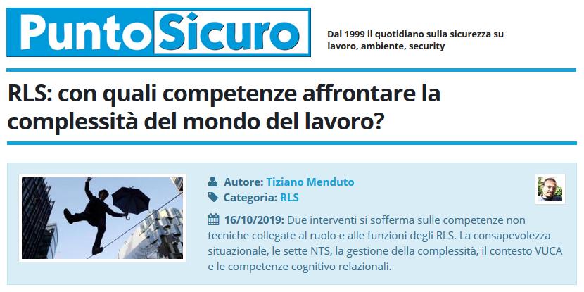PuntoSicuro - RLS: con quali competenze affrontare la complessità del mondo del lavoro?