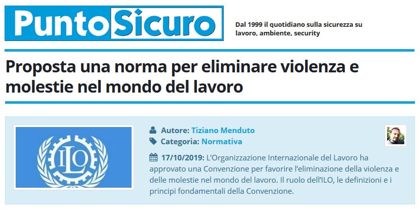 PuntoSicuro - Proposta una norma per eliminare violenza e molestie nel mondo del lavoro