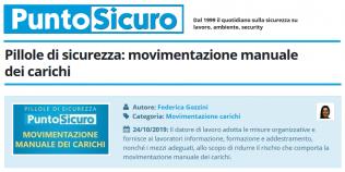 PuntoSicuro - Pillole di sicurezza: movimentazione manuale dei carichi