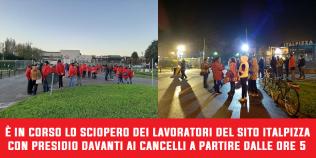 Sciopero e presidio davanti ai cancelli di Italpizza - 4/11/2019