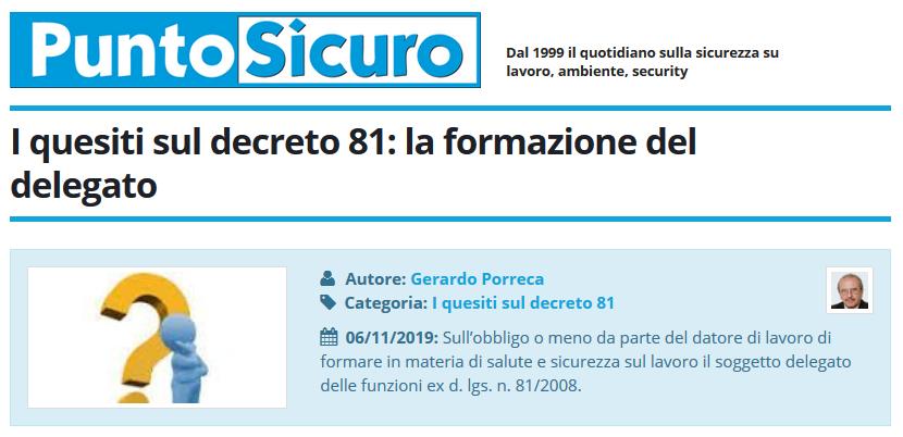 PuntoSicuro - I quesiti sul decreto 81: la formazione del delegato