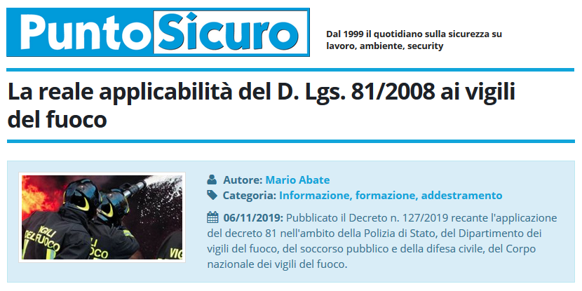 PuntoSicuro - La reale applicabilità del D. Lgs. 81/2008 ai vigili del fuoco