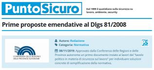 PuntoSicuro - Prime proposte emendative al Dlgs 81/2008
