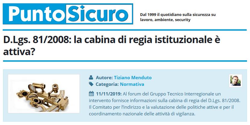 PuntoSicuro - D.Lgs. 81/2008: la cabina di regia istituzionale è attiva?