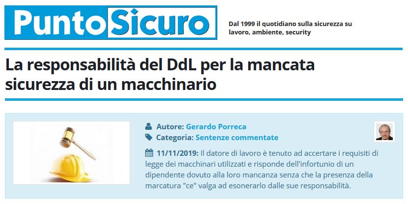 PuntoSicuro - La responsabilità del DdL per la mancata sicurezza di un macchinario