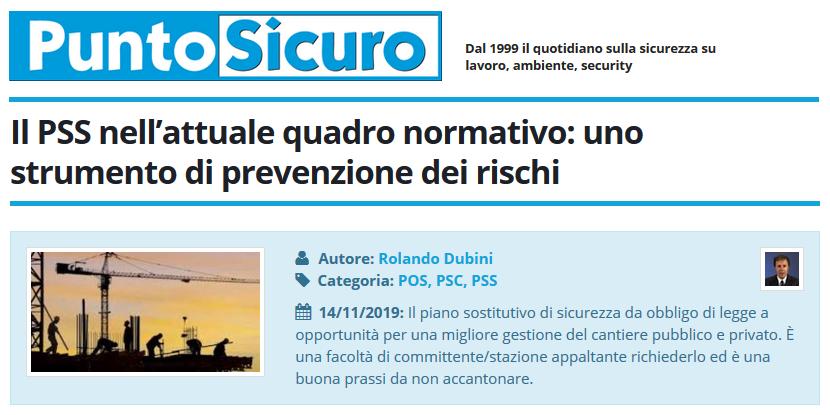 PuntoSicuro - Il PSS nell'attuale quadro normativo: uno strumento di prevenzione dei rischi