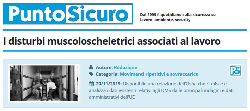 PuntoSicuro - I disturbi muscoloscheletrici associati al lavoro