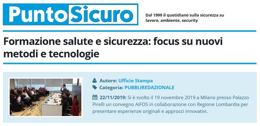 PuntoSicuro - Formazione salute e sicurezza: focus su nuovi metodi e tecnologie