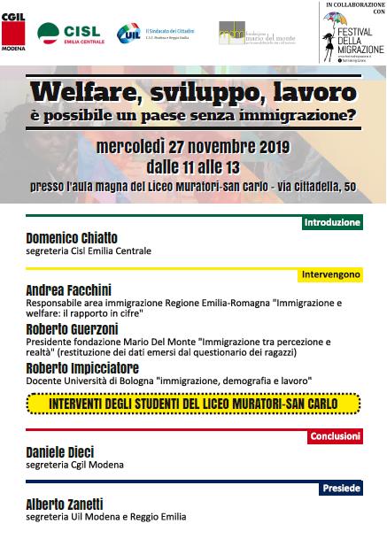 Festival migrazione, è possibile paese senza immigrati, 27.11.19