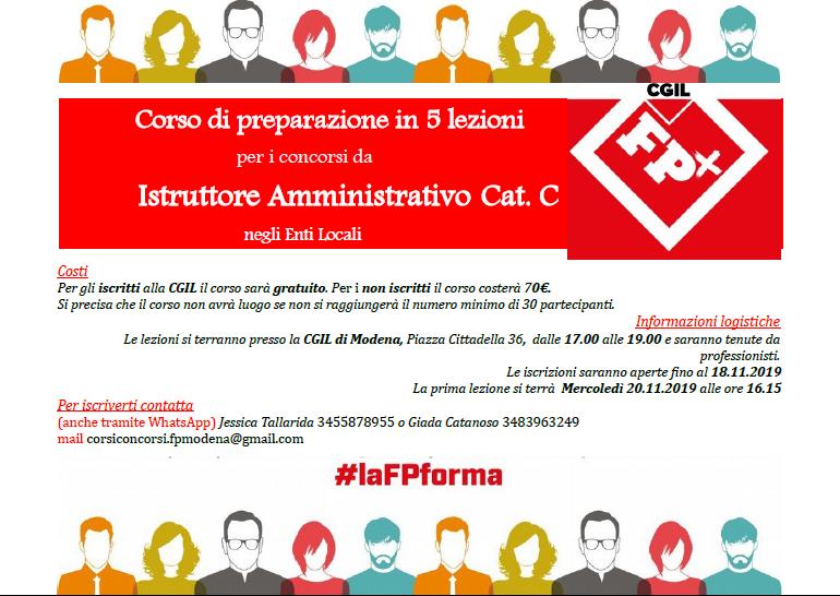 corso Fp per concorso istruttore amministrativo Cat.C