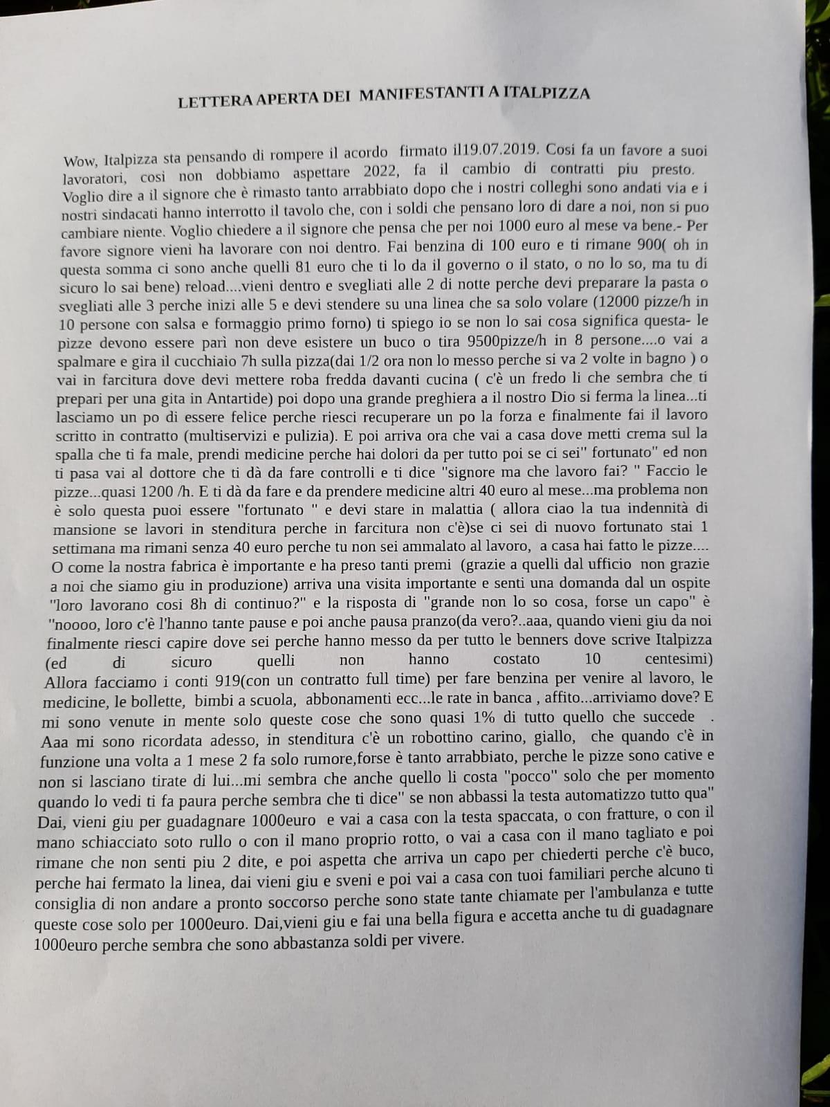 Lettera aperta dei manifestanti alla direzione Italpizza