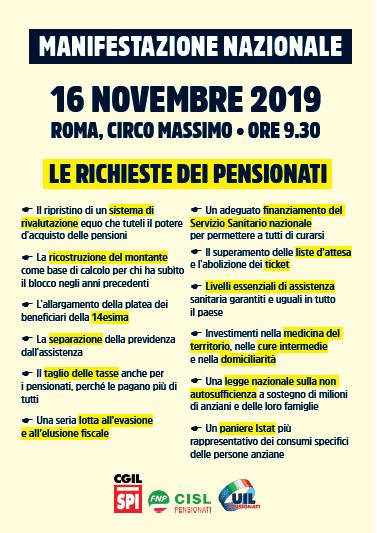 PIATTAFORMA UNITARIA manifestazione pensionati 16.11.19