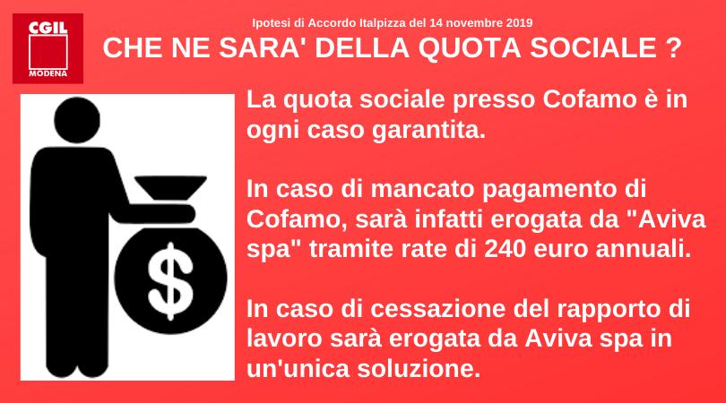 Quota sociale - Accordo Italpizza 14/11/2019