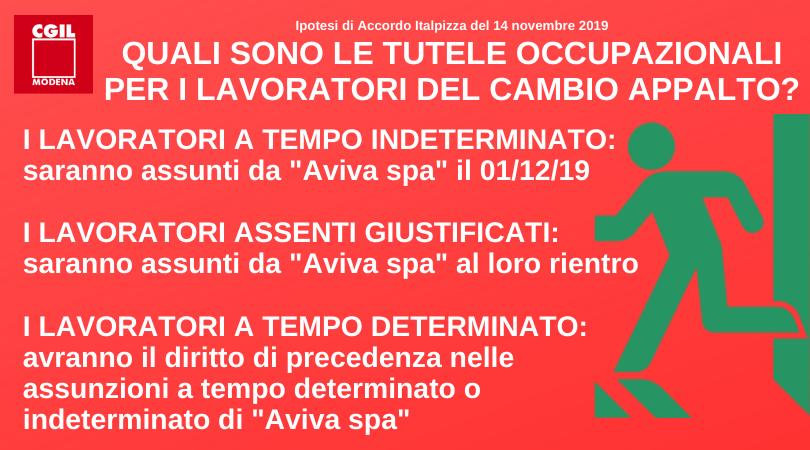 Tutele Occupazionali - Accordo Italpizza 14/11/2019