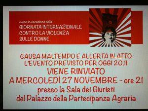 Nonantola, iniziativa del 20.11.19 rinviata al 27.11.19 causa maltempo