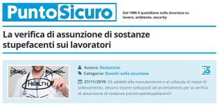 PuntoSicuro - La verifica di assunzione di sostanze stupefacenti sui lavoratori