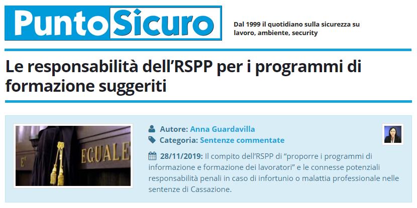 PuntoSicuro - Le responsabilità dell'RSPP per i programmi di formazione suggeriti
