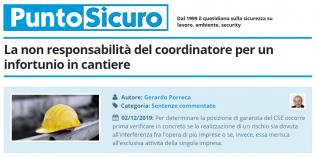 PuntoSicuro - La non responsabilità del coordinatore per un infortunio in cantiere