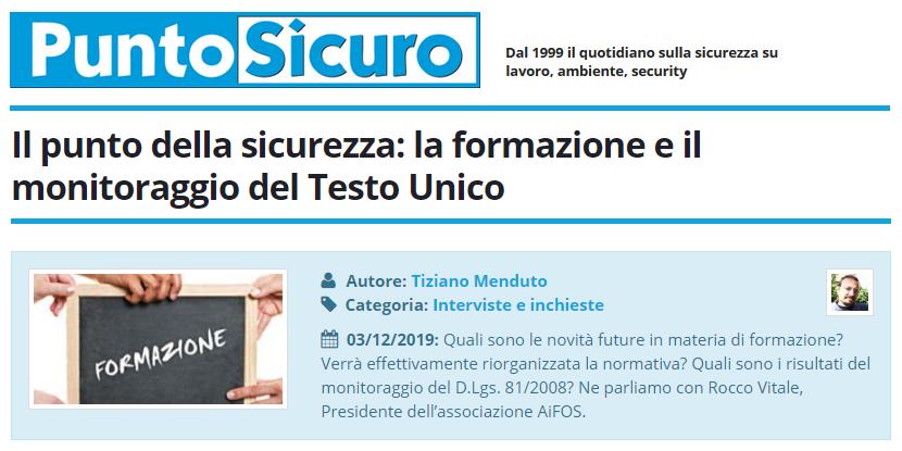 PuntoSicuro - Il punto della sicurezza: la formazione e il monitoraggio del Testo Unico