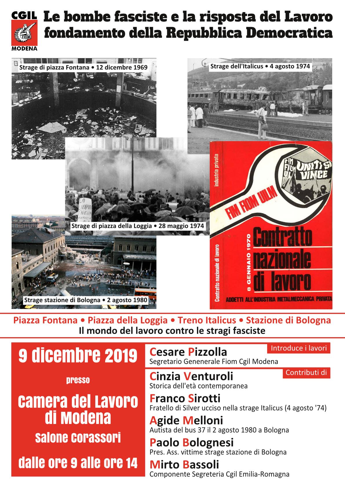 Le bombe fasciste e la risposta del Lavoro fondamento della Repubblica Democratica - 9/12/2019