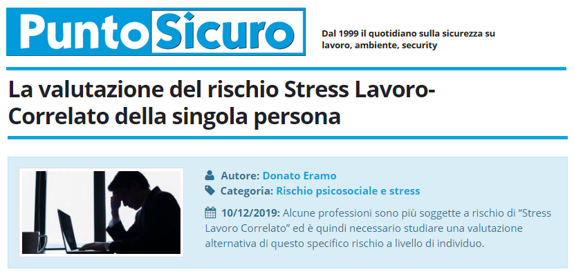PuntoSicuro - La valutazione del rischio Stress Lavoro-Correlato della singola persona