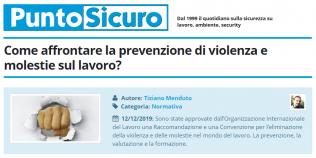 PuntoSicuro - Come affrontare la prevenzione di violenza e molestie sul lavoro?