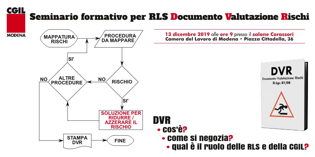 seminario formativo rls - dvr documento valutazione rischi - 13/12/2019