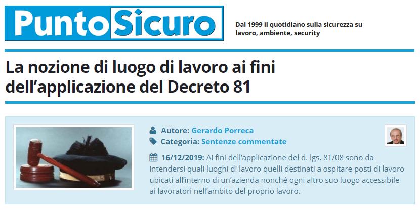 PuntoSicuro - La nozione di luogo di lavoro ai fini dell'applicazione del D.Lgs. 81/2008