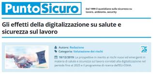 PuntoSicuro - Gli effetti della digitalizzazione su salute e sicurezza sul lavoro