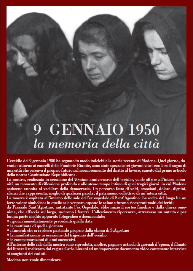 9 Gennaio 1950-9 Gennaio 2020. La memoria della Città FRONTE 9.1.20