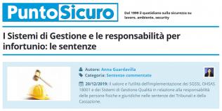 PuntoSicuro - I Sistemi di Gestione e le responsabilità per infortunio: le sentenze