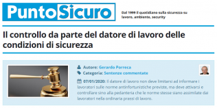 PuntoSicuro - Il controllo da parte del datore di lavoro delle condizioni di sicurezza