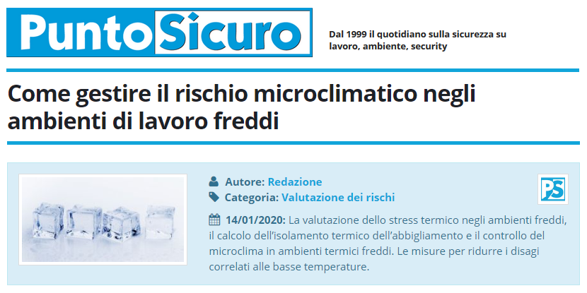 PuntoSicuro - Come gestire il rischio microclimatico negli ambienti di lavoro freddi